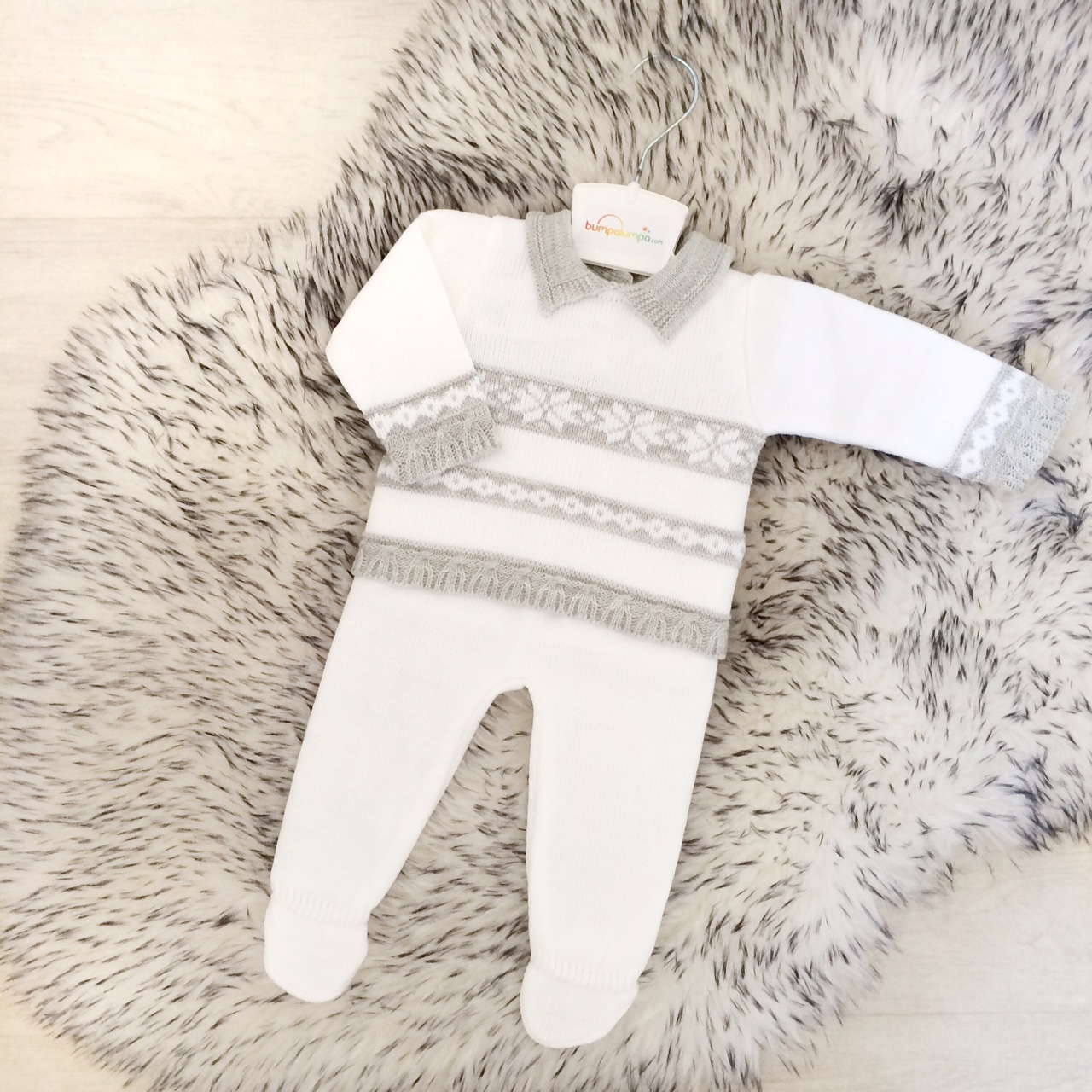 Baby Boys White & Grey Top & Trouser Set
