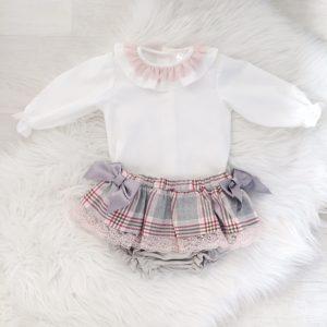 Baby Girls Blouse & Check Skirt