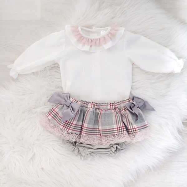 Baby Girls Blouse & Check Skirt
