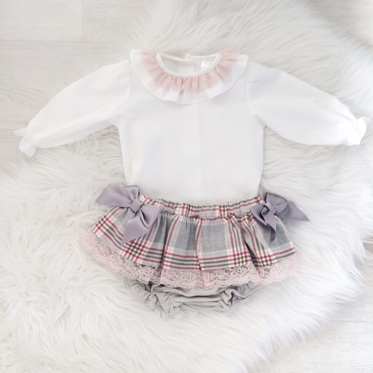 7903288f49 Baby Girls Blouse & Check Skirt | Bumpalumpa.com