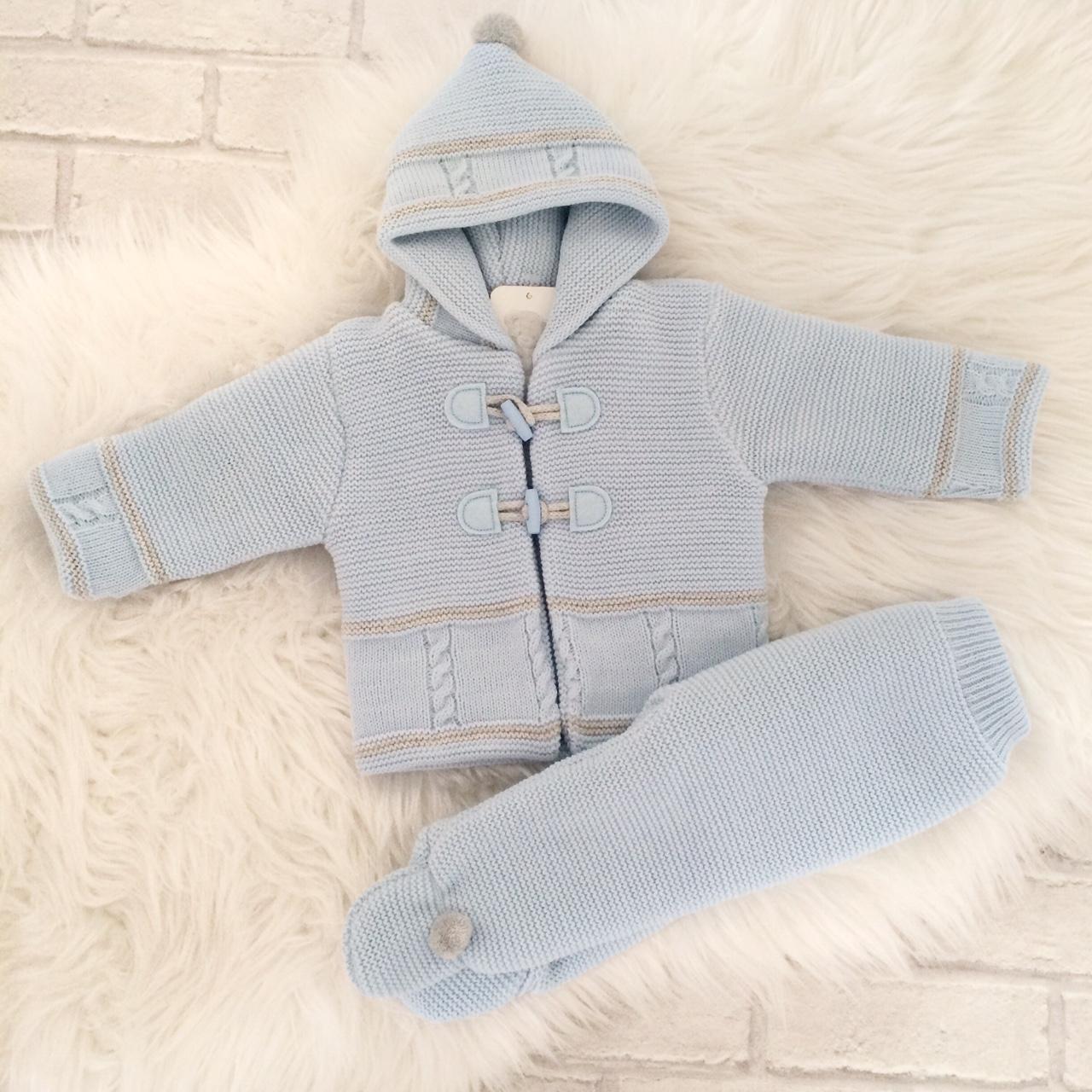 Baby Boys Blue & Grey Cardigan & Trouser Set