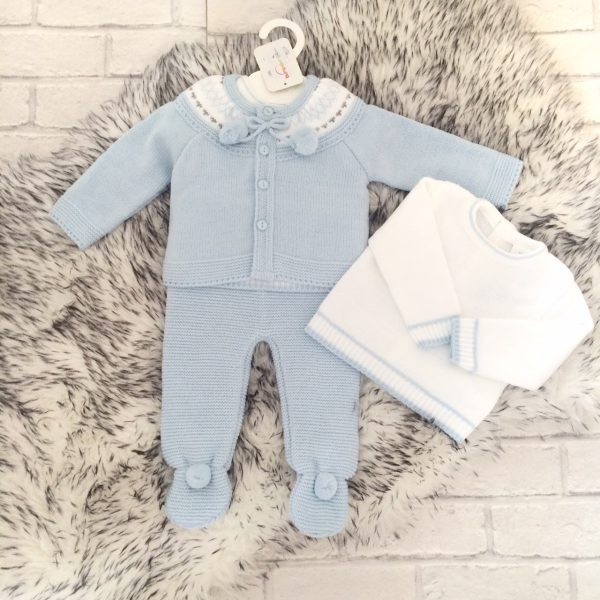 Baby Boys Blue Knitted Three Piece Set