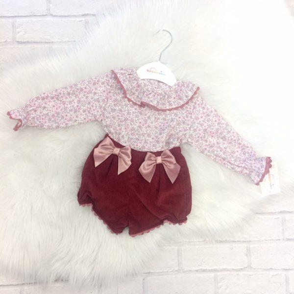 Baby Girls Floral Blouse & Corduroy Shorts Set