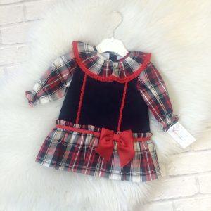 Baby Girls Red & Navy Dress