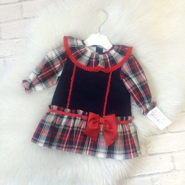 Baby Girls Red & Navy Dress