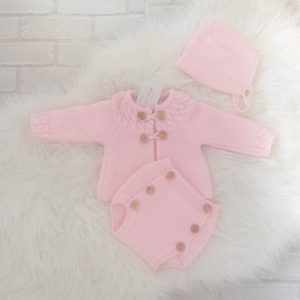 Baby Girls Pink knitted Bonnet Cardigan & Shorts Set