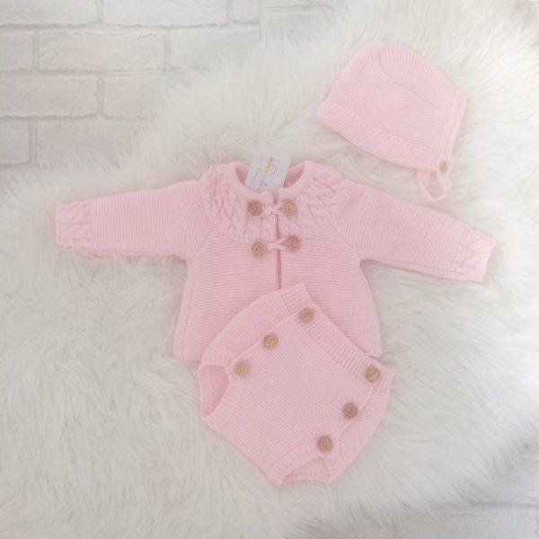 Baby Girls Pink knitted Bonnet Cardigan & Shorts Set