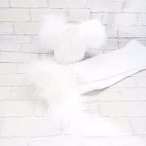 White Double Pom Pom Hat & Scarf Set
