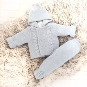 Blue Baby Cardigan & Trousers Set