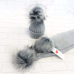 Grey Fur Pom Pom Hat & Scarf Set