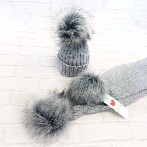 Grey Fur Pom Pom Hat & Scarf Set