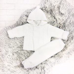 Unisex White Baby Jacket & Trouser Set