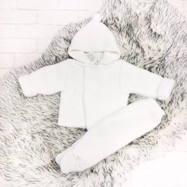 Unisex White Baby Jacket & Trouser Set
