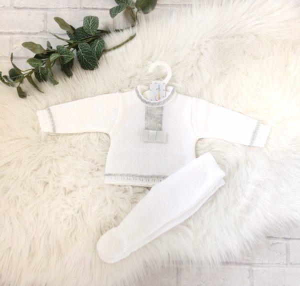 Unisex White Baby Pram Set