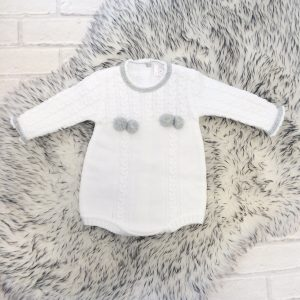 White Knitted Baby Romper Suit