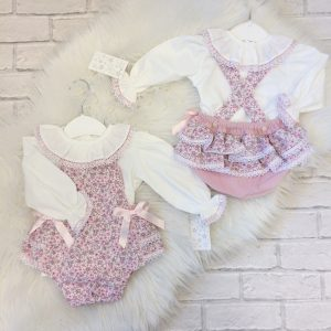 Baby Girls Pink Floral Dungaree Outfit