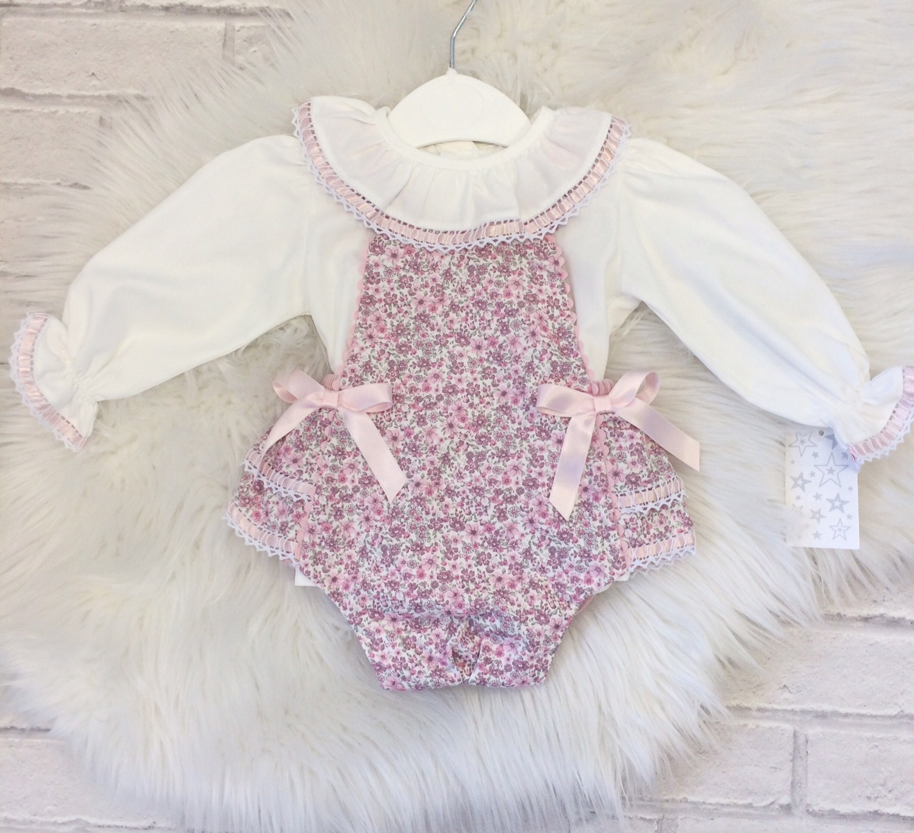 Baby Girls & Toddlers Pink Floral Dungaree Outfit