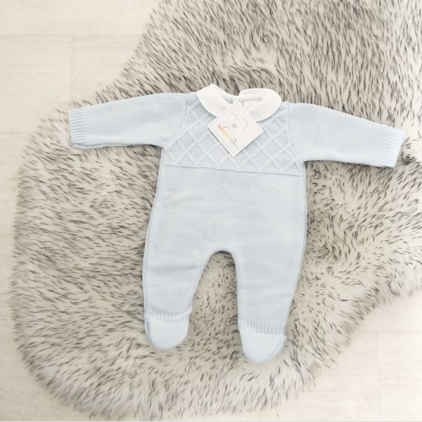 Baby Boys Blue Knitted Romper Suit with White Collar