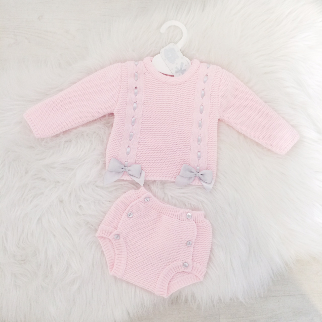 Baby Girls Pink Knitted Jumper & Shorts Set