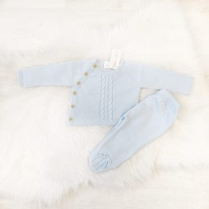 Baby Boys Blue Knitted Jumper & Covered Feet Trousers