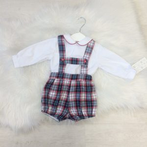 Baby Boys Red Check Dungaree Outfit