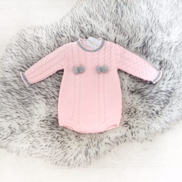 Baby Girls Pink Knitted Romper Suit