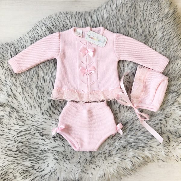 Baby Girls Pink Lace Knitted Three Piece Set Outfit