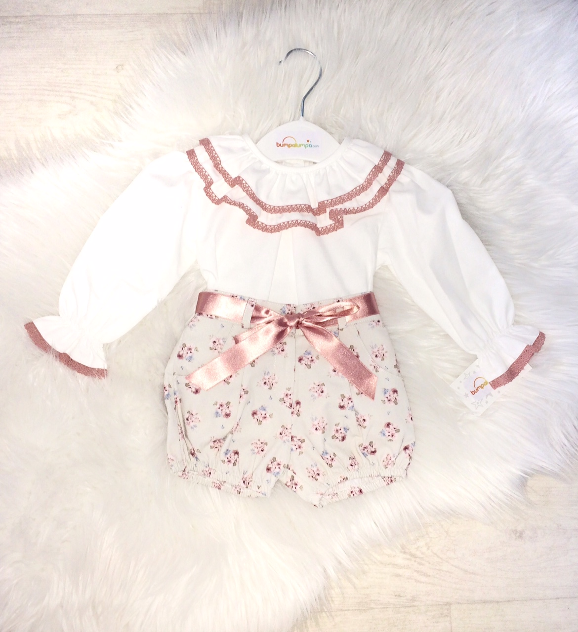 Baby Girls Ivory Blouse & Floral Shorts Outfit
