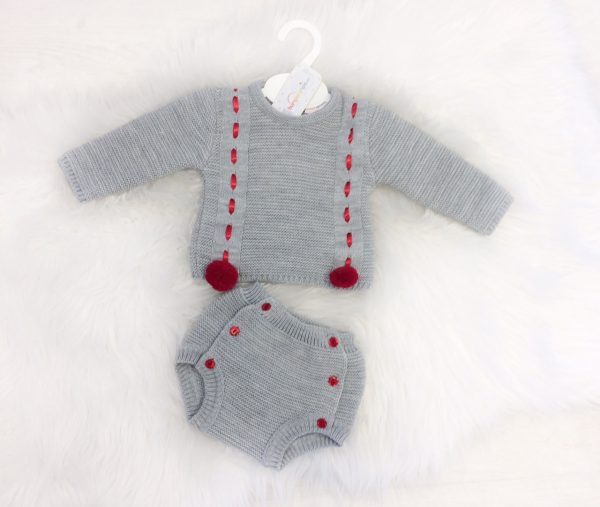 Baby Grey & Red Knitted Jumper Set