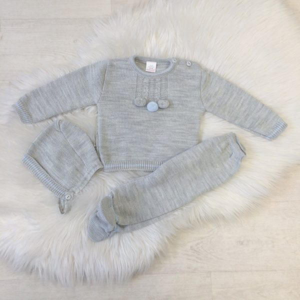 Baby Boys Grey & Blue Three Piece Set