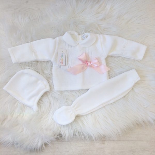 Newborn Baby Girls White Knitted Outfit