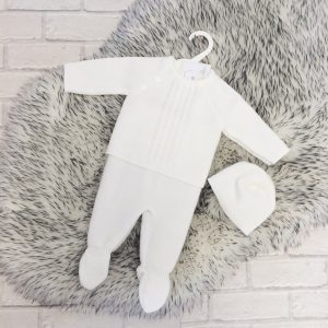 White Knitted Baby Three Piece Set