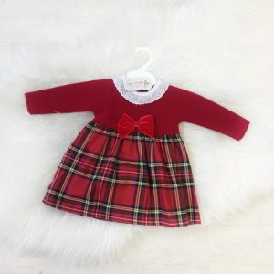 Baby Girls Red Tartan Dress with Velvet Bow