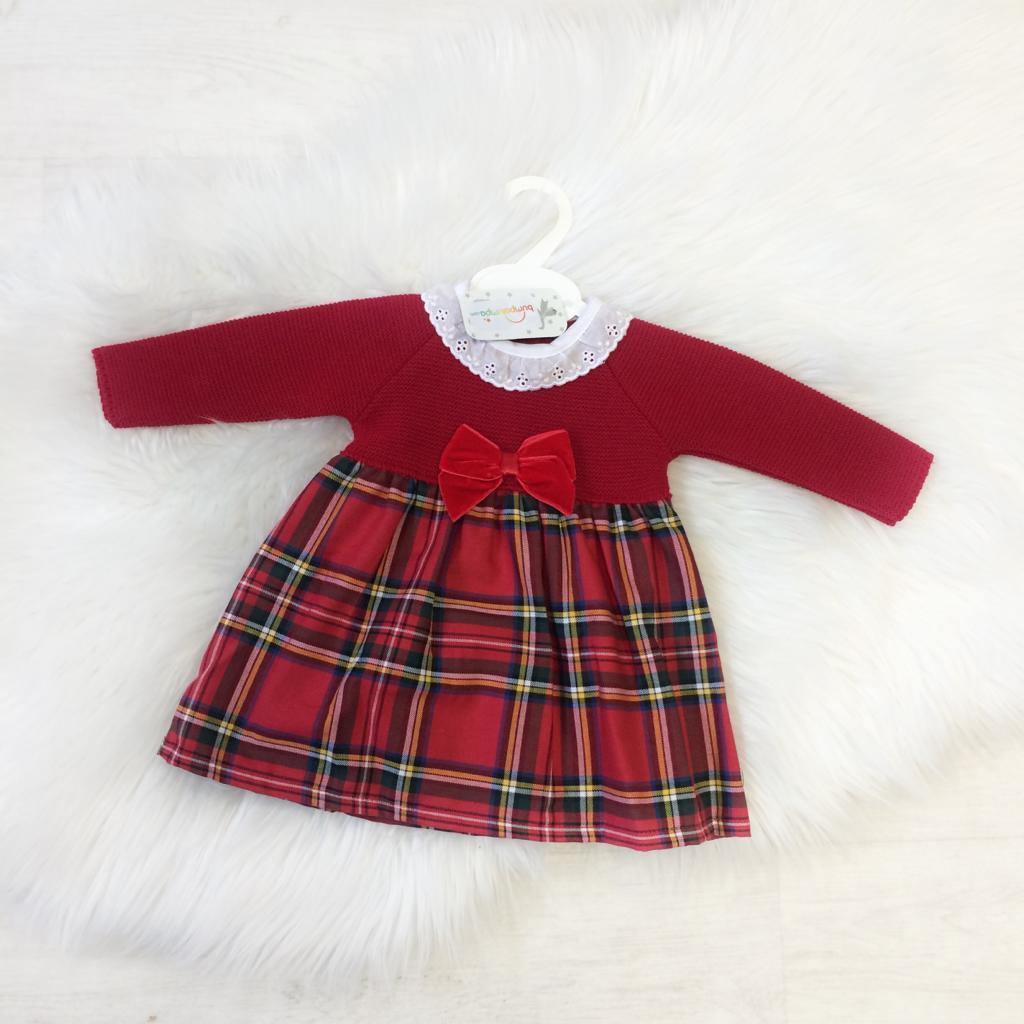 Baby Girls Red Tartan Dress with Velvet Bow