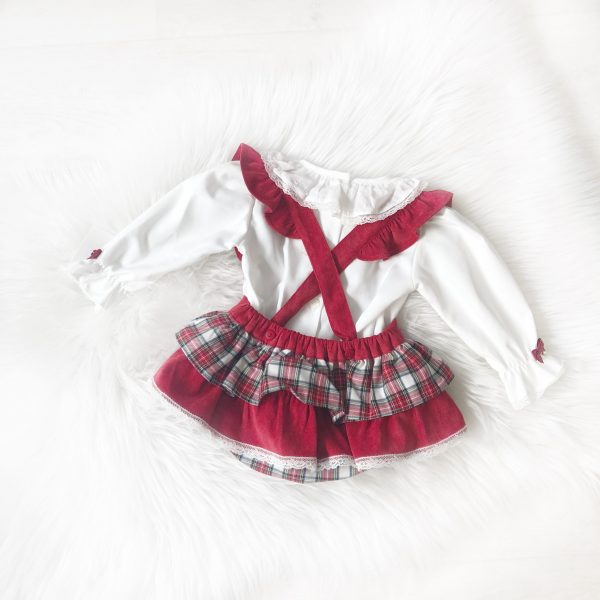 Baby Girls Red Check Dungaree Outfit