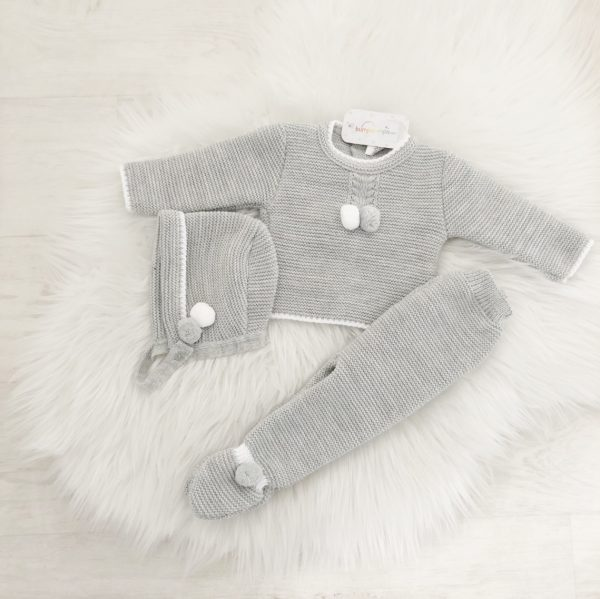 Grey & White Three Piece Baby Outfit
