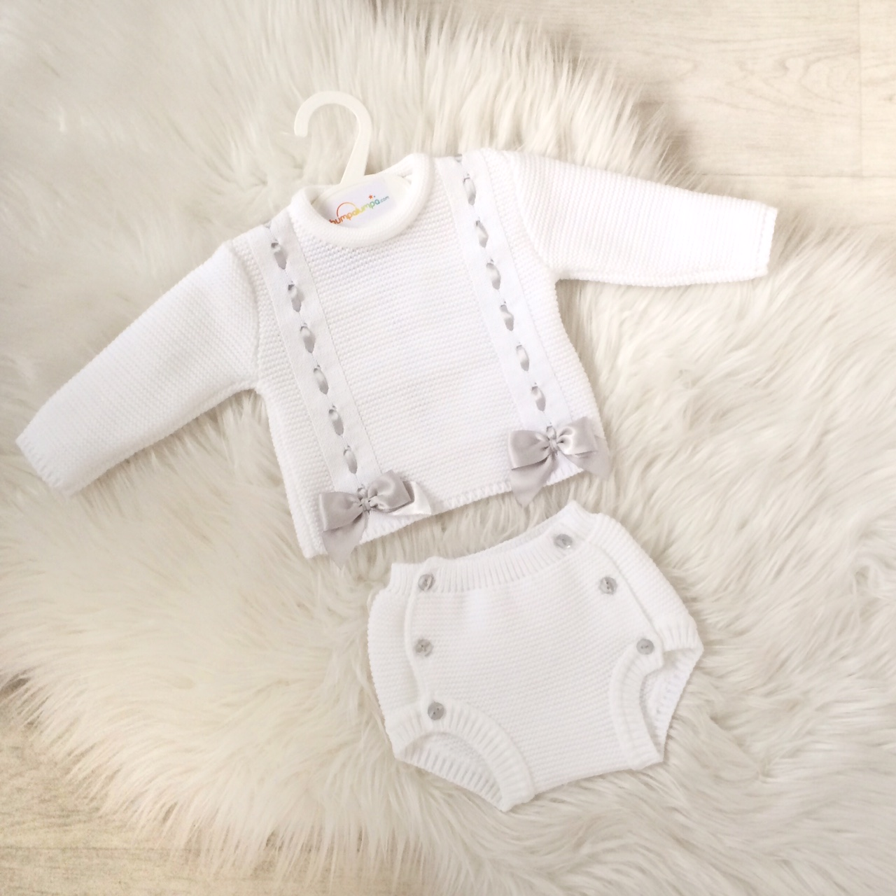Baby Girls White Knitted Outfit