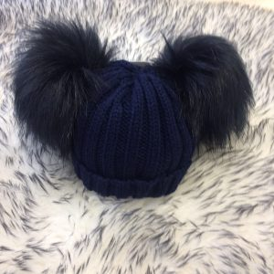 Baby Navy Double Pom Pom Hat