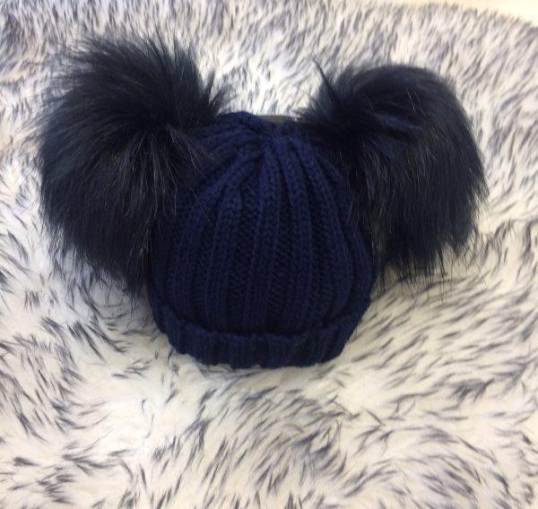Baby Navy Double Pom Pom Hat