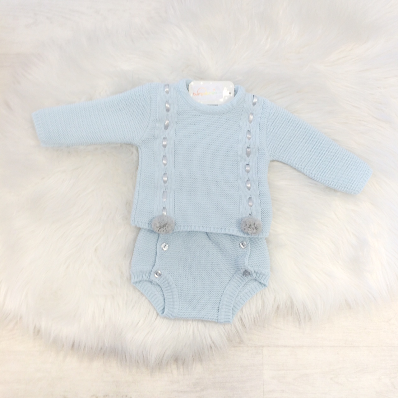 Baby Boys Blue Knitted Pom Pom Jumper & Shorts Set