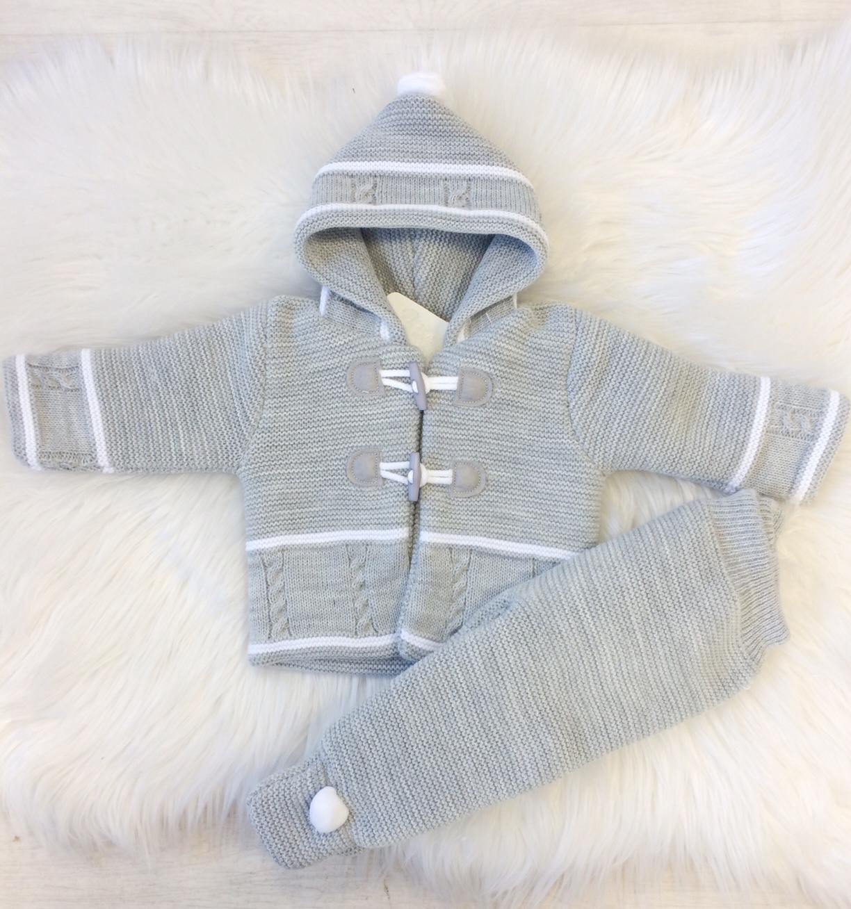 Baby Grey Knitted Jacket & Trouser Set