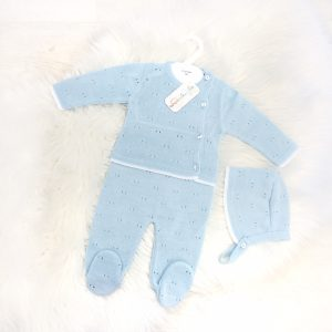 Baby Boys Blue Knitted Three Piece Set Pram Suit