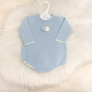 Baby Boys Blue Knitted Pom Pom Romper Suit