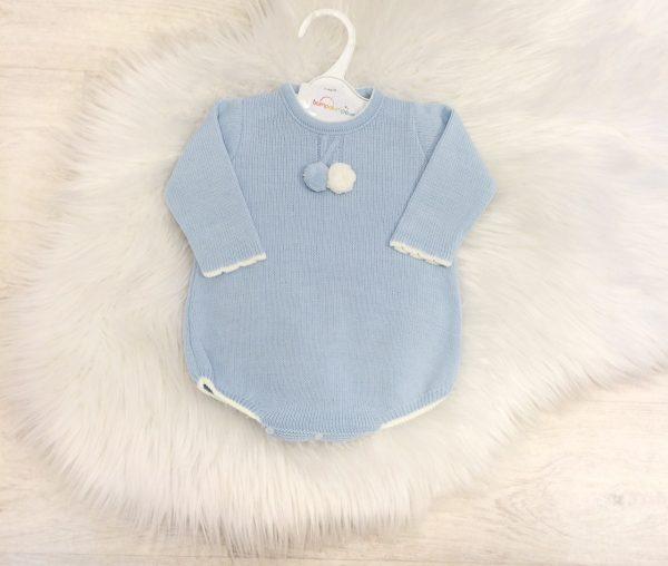 Baby Boys Blue Knitted Pom Pom Romper Suit