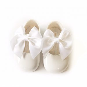 Baby Girls White Bow Soft Sole Shoes