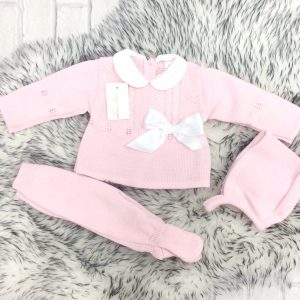 Newborn Baby Girls Pink Knitted Outfit