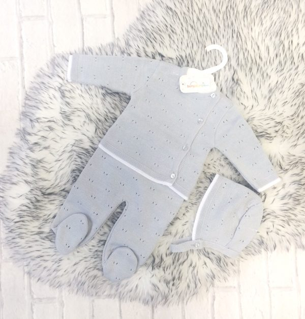 Unisex Grey Knitted Baby Set