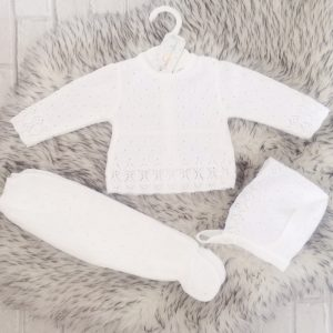 Unisex White Knitted Baby Pram Set