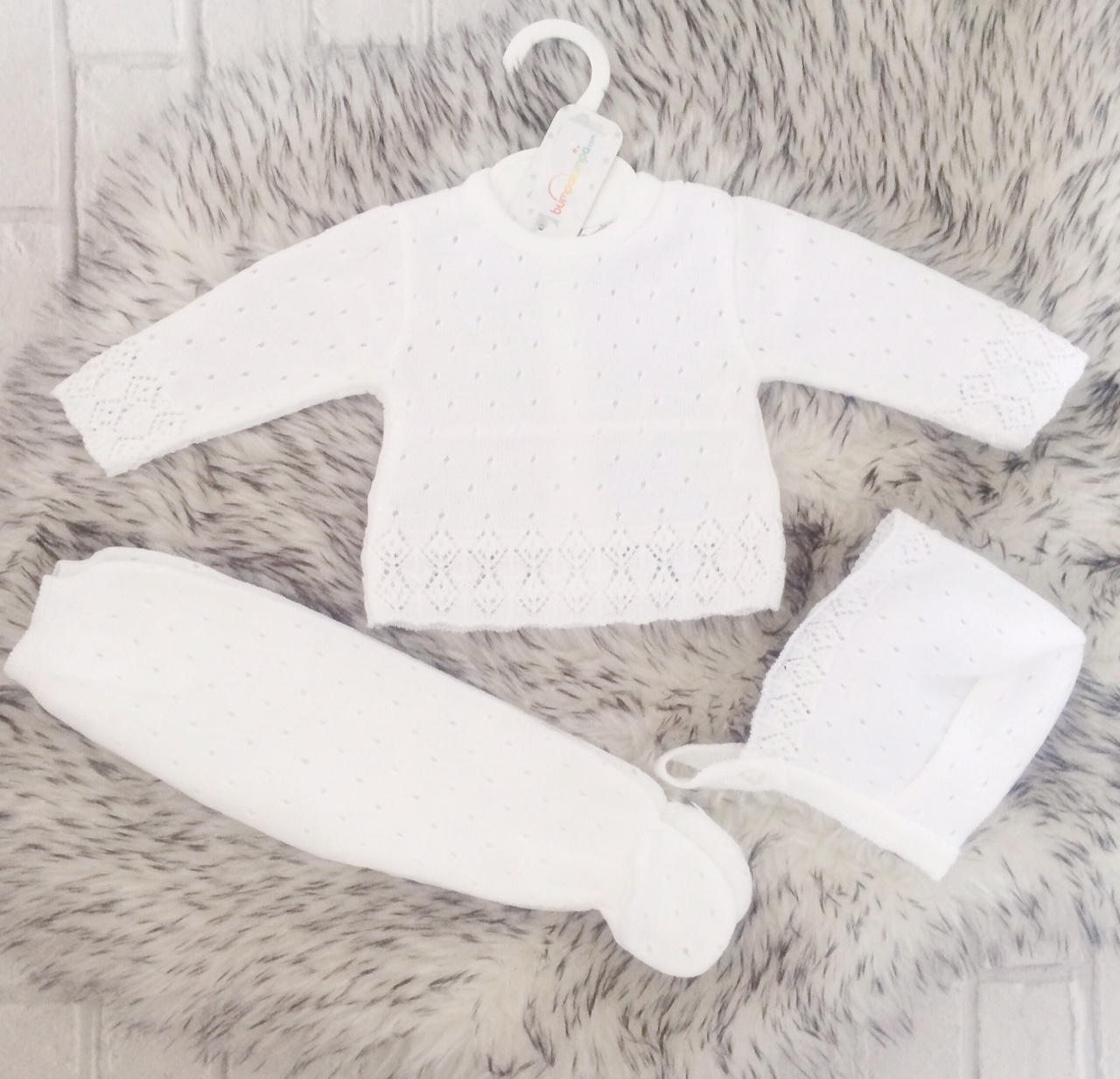 289bc0174 Unisex White Knitted Baby Pram Set
