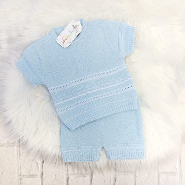 Baby Boys Blue & White Knitted Shorts Set